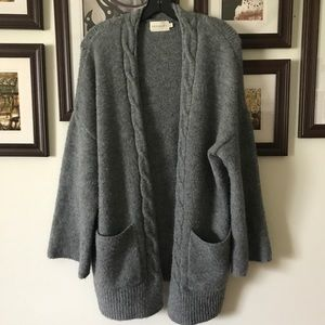 SOFT STRETCHY KNIT POCKET CARDIGAN